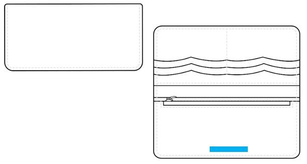 ロングウォレット(ブッテーロ:2つ折り)-名入れ位置