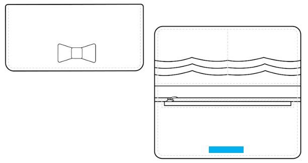 ロングウォレット(2つ折り:リボンつき)-名入れ位置