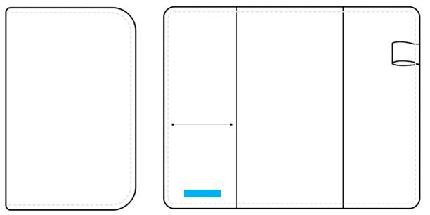 手帳カバー(2つ折り:サイズ:A6 or B6 or A5 or B5)-名入れ位置