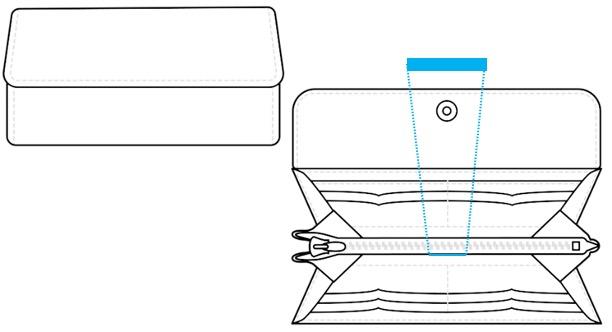 ロングウォレット(3つ折り)-名入れ位置