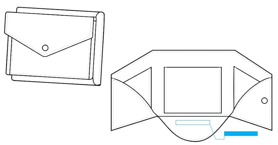ミニウォレット(3つ折り・ボタン)-名入れ位置