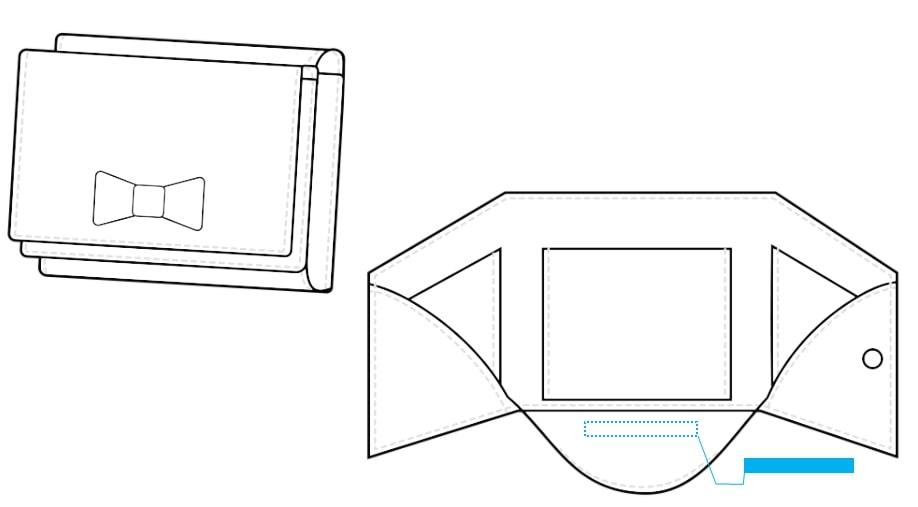 ミニウォレット(3つ折り・リボン付き)-名入れ位置